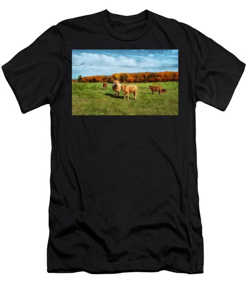 Farm Field And Brown Cows Men's T-Shirt (Athletic Fit)