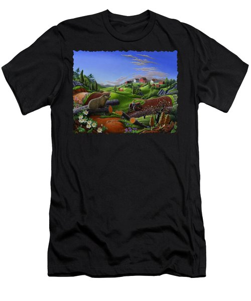 Farm Folk Art - Groundhog Spring Appalachia Landscape - Rural Country Americana - Woodchuck Men's T-Shirt (Athletic Fit)