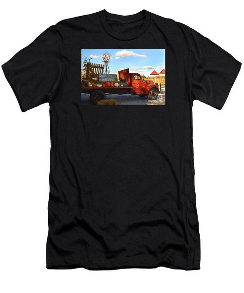 Farm With Red Truck In Fall  Men's T-Shirt (Athletic Fit)