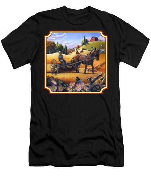 Farmer Raking The Hay Country Farm Life Landscape - Square Format Men's T-Shirt (Athletic Fit)