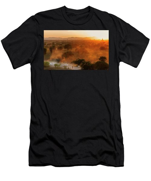 Men's T-Shirt (Athletic Fit) featuring the photograph Farmer Returning To Village In The Evening by Pradeep Raja Prints