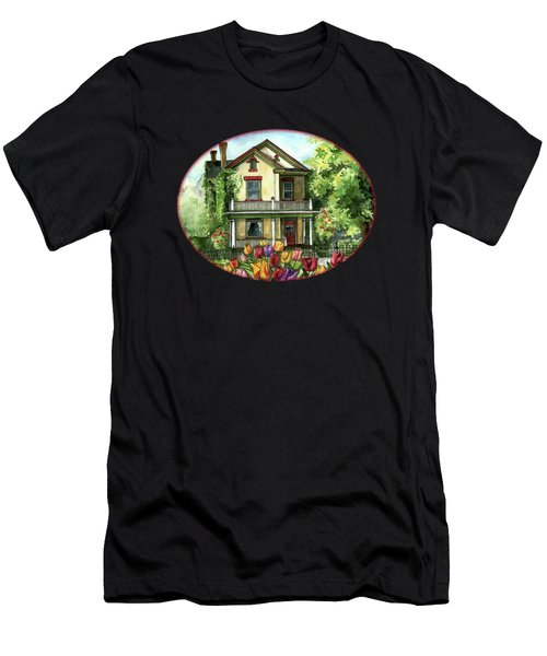 Farmhouse With Spring Tulips Men's T-Shirt (Athletic Fit)