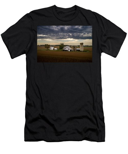 Farmstead Under Clouds Men's T-Shirt (Athletic Fit)