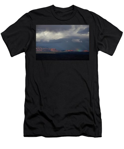 Men's T-Shirt (Slim Fit) featuring the photograph Fat Ground Rainbow, Red Rocks Sedona by Ron Chilston