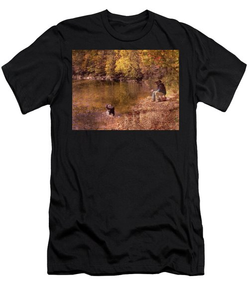 Father,son And Dog Men's T-Shirt (Athletic Fit)