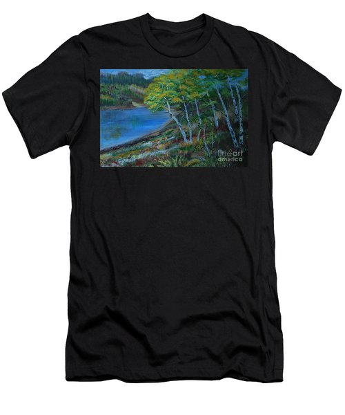 Men's T-Shirt (Slim Fit) featuring the painting Favorite Fishin' Hole by Leslie Allen