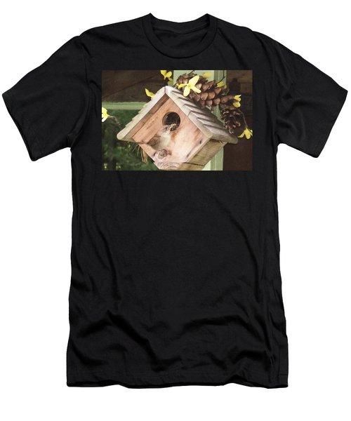 Men's T-Shirt (Slim Fit) featuring the digital art Feeding Birds by Barbara S Nickerson