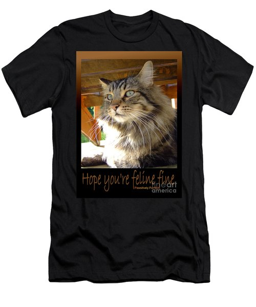 Men's T-Shirt (Slim Fit) featuring the photograph Feline Fine by Marianne NANA Betts