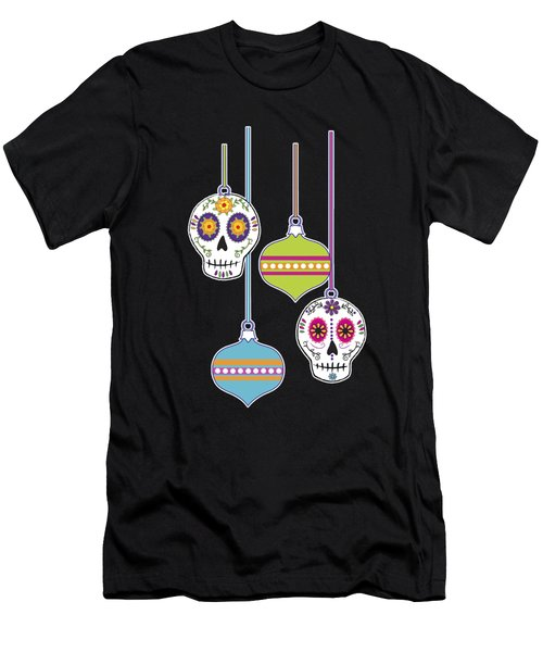 Feliz Navidad Holiday Sugar Skulls Men's T-Shirt (Athletic Fit)