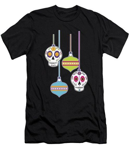Feliz Navidad Holiday Sugar Skulls Men's T-Shirt (Athletic Fit)