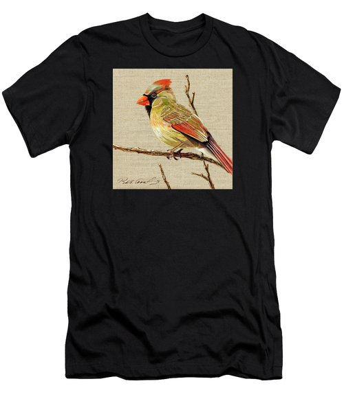 Men's T-Shirt (Slim Fit) featuring the painting Female Cardinal by Bob Coonts