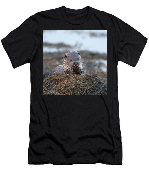 Female Otter Eating Men's T-Shirt (Athletic Fit)