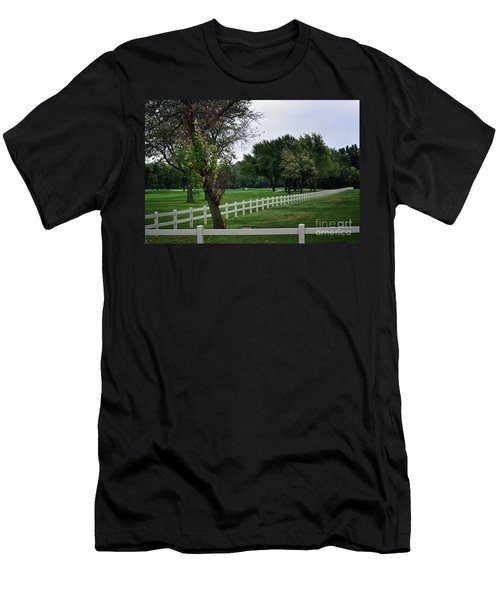 Fence On The Wooded Green Men's T-Shirt (Athletic Fit)