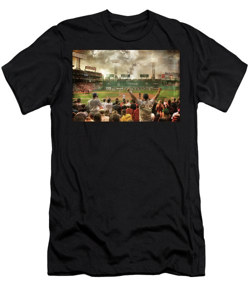 Men's T-Shirt (Athletic Fit) featuring the photograph Fenway Park Green Monster by Joann Vitali