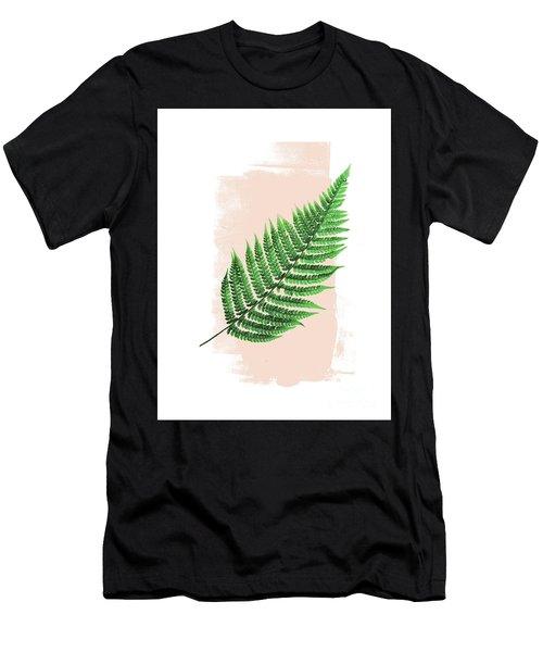 Fern Leaf On Pink Men's T-Shirt (Athletic Fit)