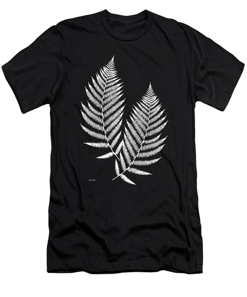 Men's T-Shirt (Slim Fit) featuring the mixed media Fern Pattern Black And White by Christina Rollo