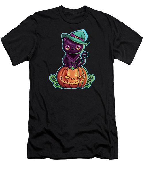 Ferociously Cute Halloween Vampire Witch Kitty C Men's T-Shirt (Athletic Fit)