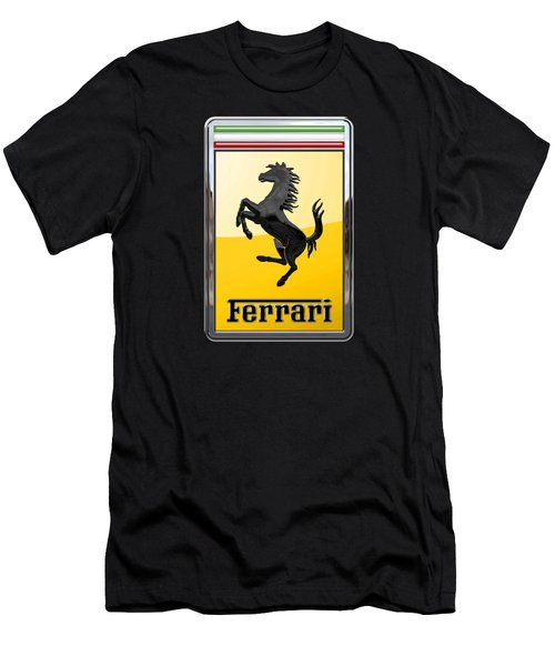 Ferrari - 3 D Badge On Black Men's T-Shirt (Slim Fit) by Serge Averbukh