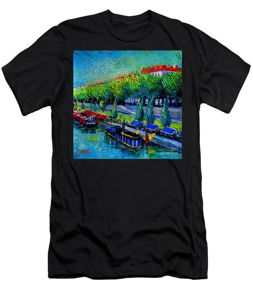 Festive Barges On The Rhone River Men's T-Shirt (Athletic Fit)