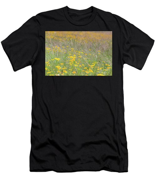 Field Of Yellow Flowers In A Sunny Spring Day Men's T-Shirt (Athletic Fit)