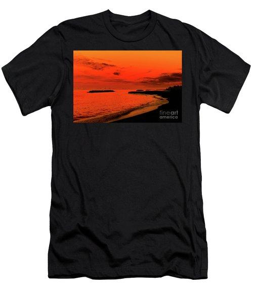 Fiery Lake Sunset Men's T-Shirt (Slim Fit) by Randy Steele