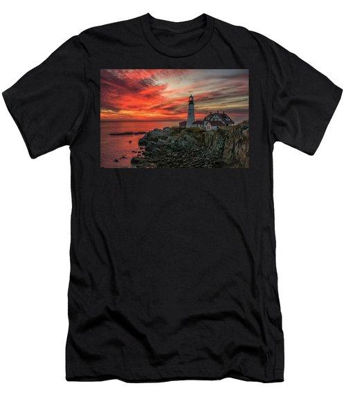 Fiery Sunrise At Portland Head Light Men's T-Shirt (Athletic Fit)