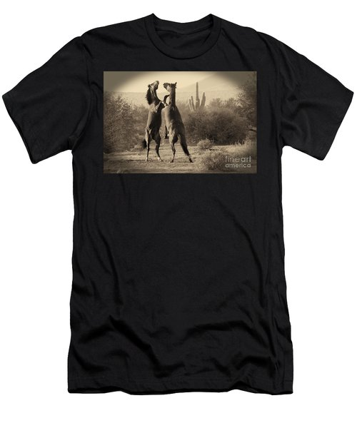Men's T-Shirt (Athletic Fit) featuring the photograph Fighting Stallions by Frank Stallone
