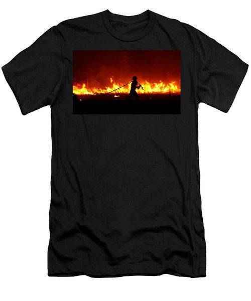 Fighting The Fire Men's T-Shirt (Slim Fit) by Linda Unger