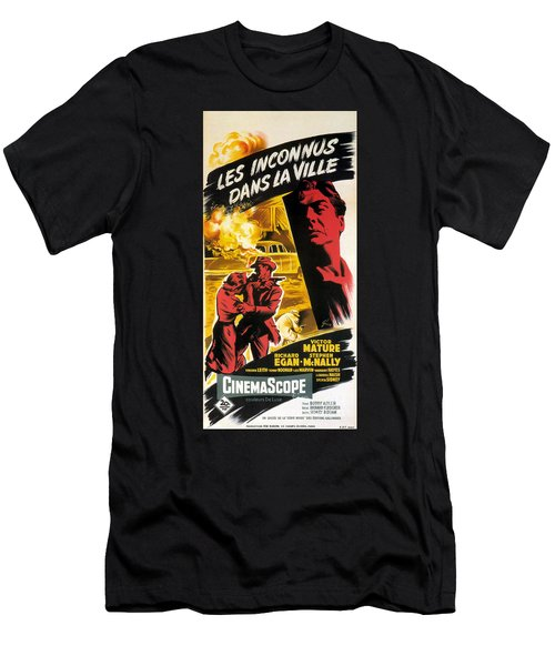 Film Noir Poster   Violent Saturday Men's T-Shirt (Slim Fit) by R Muirhead Art