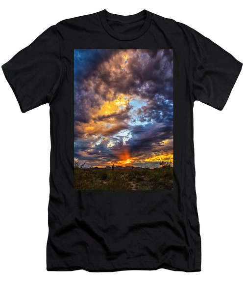 Finger Painted Sunset Men's T-Shirt (Slim Fit) by Rick Furmanek