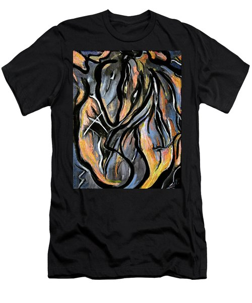 Men's T-Shirt (Slim Fit) featuring the painting Fire And Stone by Lynda Lehmann