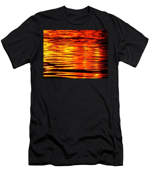 Fire At Night On The Water Men's T-Shirt (Athletic Fit)