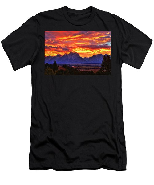 Fire In The Teton Sky Men's T-Shirt (Slim Fit) by Greg Norrell