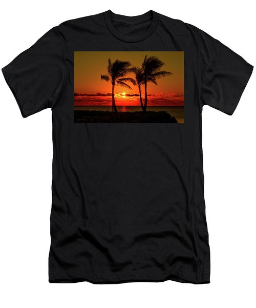Fire Sunset Through Palms Men's T-Shirt (Athletic Fit)