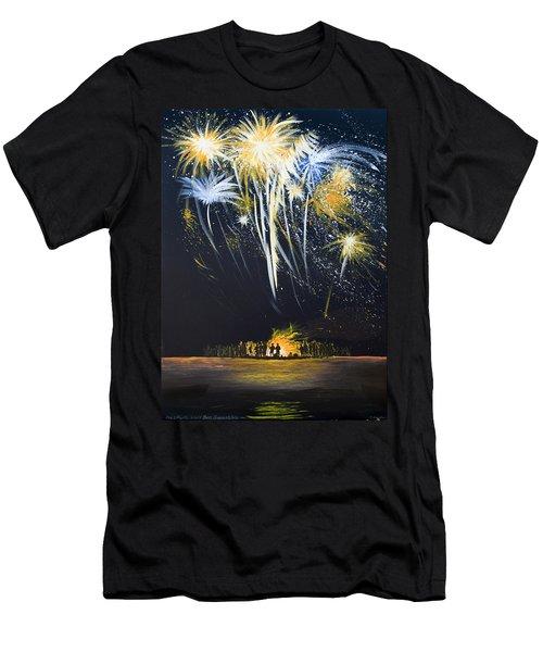 Fireworks Bonfire On The West Bar Men's T-Shirt (Athletic Fit)