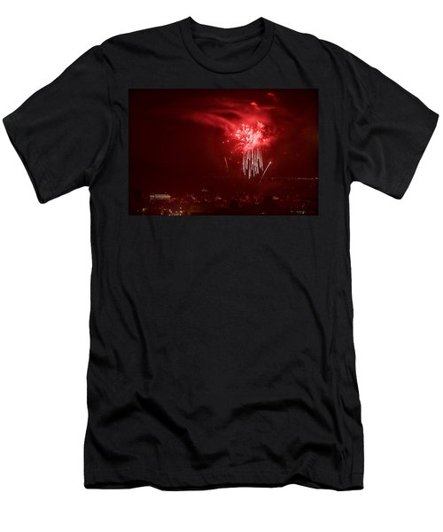 Fireworks In Red And White Men's T-Shirt (Athletic Fit)