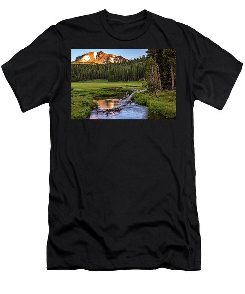 Men's T-Shirt (Athletic Fit) featuring the photograph First Light On Lassen From Upper Meadow by John Hight