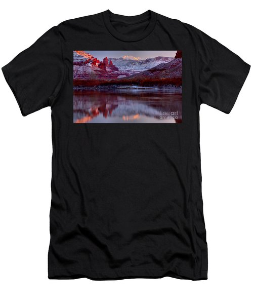 Men's T-Shirt (Slim Fit) featuring the photograph Fisher Towers Landscape Glow by Adam Jewell