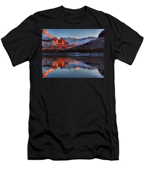Men's T-Shirt (Slim Fit) featuring the photograph Fisher Towers Sunset On The Colorado by Adam Jewell