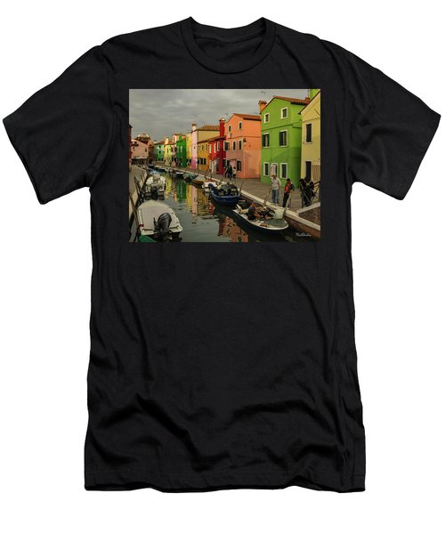 Fisherman At Work In Colorful Burano Men's T-Shirt (Athletic Fit)