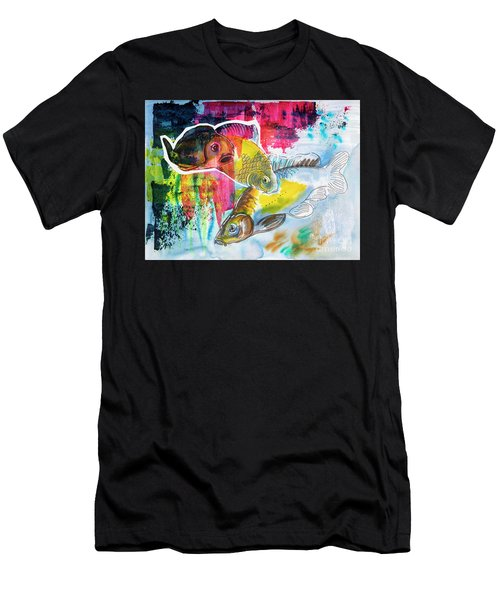 Men's T-Shirt (Athletic Fit) featuring the painting Fishes In Water, Original Painting by Ariadna De Raadt