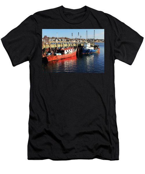 Men's T-Shirt (Slim Fit) featuring the photograph Fishing Boats At Provincetown Wharf by Roupen  Baker