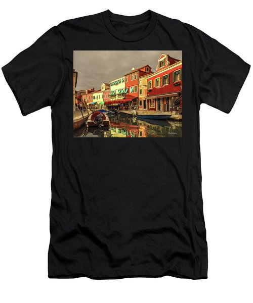 Fishing Boats In Colorful Burano Men's T-Shirt (Athletic Fit)