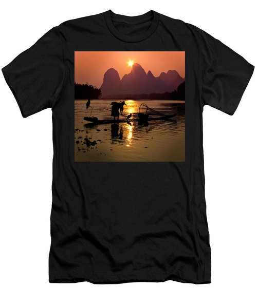 Fishing With Cormorants Men's T-Shirt (Athletic Fit)