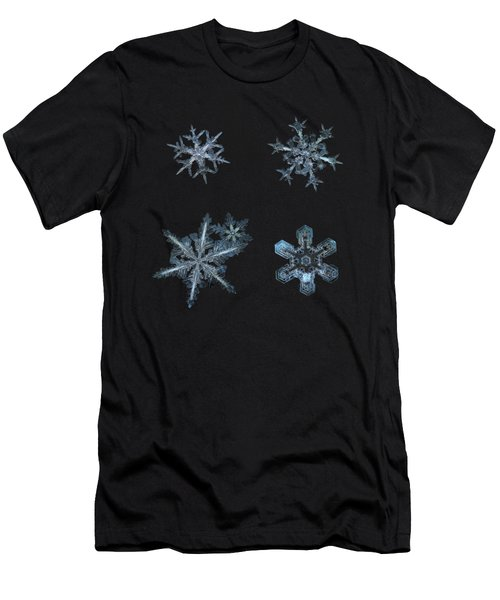 Five Snowflakes On Black 3 Men's T-Shirt (Athletic Fit)