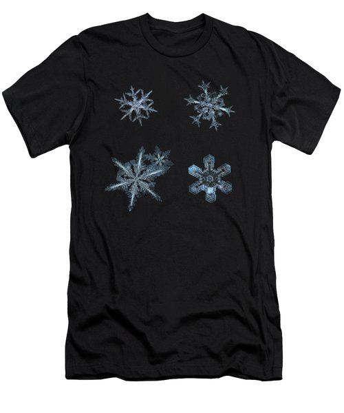 Men's T-Shirt (Athletic Fit) featuring the photograph Five Snowflakes On Black 3 by Alexey Kljatov