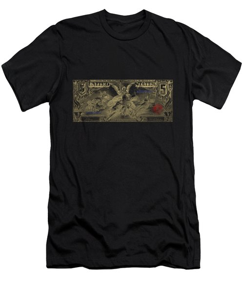 Men's T-Shirt (Slim Fit) featuring the digital art Five U.s. Dollar Bill - 1896 Educational Series In Gold On Black  by Serge Averbukh