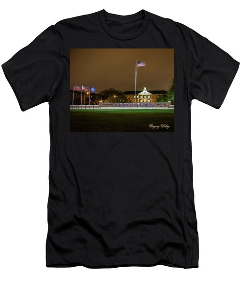 Men's T-Shirt (Slim Fit) featuring the photograph Flag At Night In Wind by Gregory Daley  PPSA