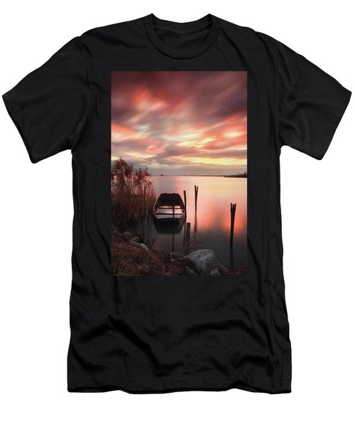 Men's T-Shirt (Athletic Fit) featuring the photograph Flame In The Darkness by Davor Zerjav