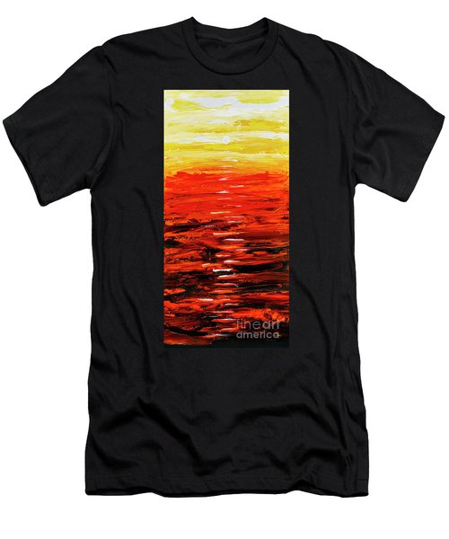 Flaming Sunset Abstract 205173 Men's T-Shirt (Athletic Fit)